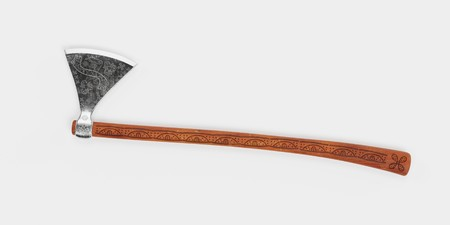 Realistic 3D Render of Viking Axe Stock Photo