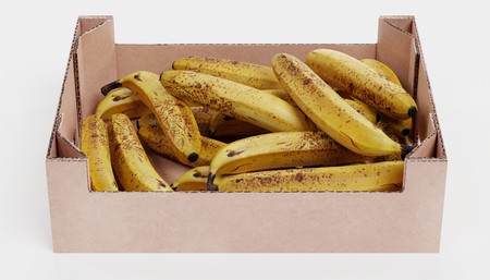 Realistic 3D Render of Bananas in Box