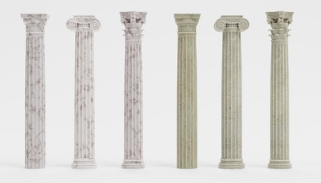Realistic 3d Render of Columns (Doric, Ionic and Corinthian) Stock Photo