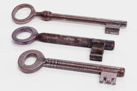 Realistic 3D Render of Classic Old Keys Stock Photo