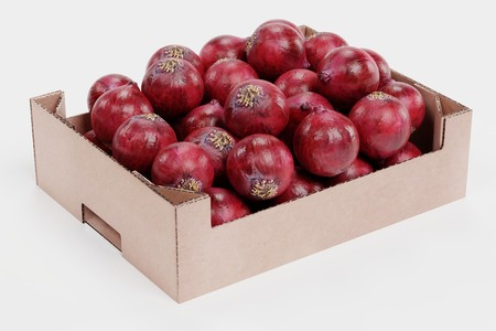 Realistic 3D Render of Onions in Box Stock Photo