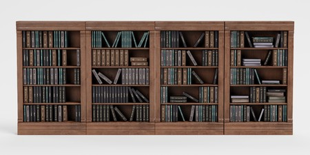 Realistic 3D Render of Bookshelf with Books Stock Photo