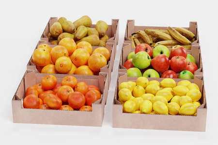 Realistic 3D Render of Fruit in Boxes Stock Photo