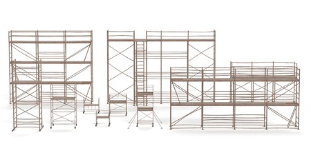 Realistic 3D Render of Metal Scaffoldings Set