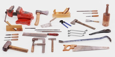 Realistic 3D Render of Used Old Tools