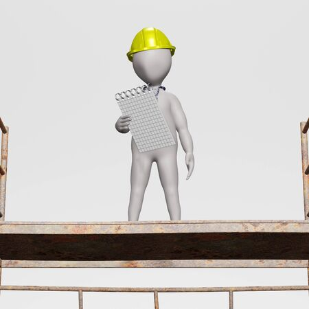 3D Render of Character with Scaffoldings