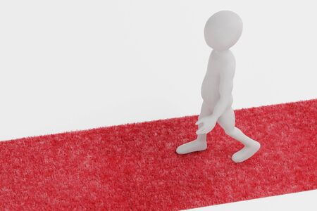 Realistic 3d Render of Red Carpet with Character