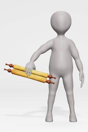 Render of Cartoon Character with Scrolls Zdjęcie Seryjne
