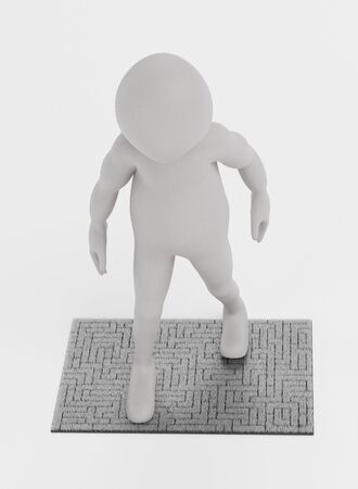 3D Render of Character with Welcome Mat 写真素材