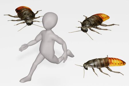 3D Render of Cartoon Character with Hisser Cockroach