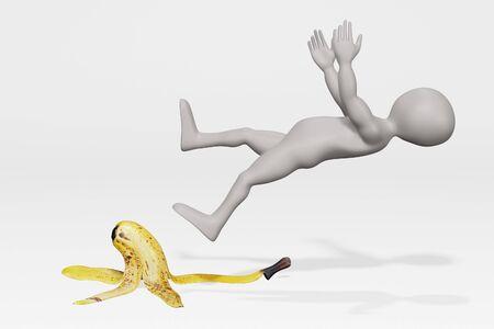 3D Render of Cartoon Charcter Falling on Banana Peel