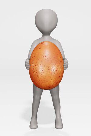 3D Render of Cartoon Charcter with Egg Foto de archivo - 134671781
