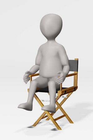 3D Render of Cartoon Character with Director Chair