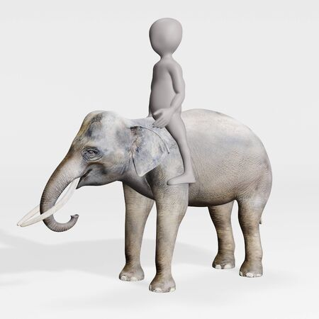 3D Render of Cartoon Character riding Elephant 版權商用圖片