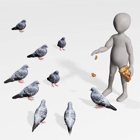 3D Render of Cartoon Character with Pigeons Standard-Bild - 134734932