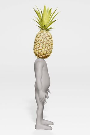 3D Render of Cartoon Character with Pineapple
