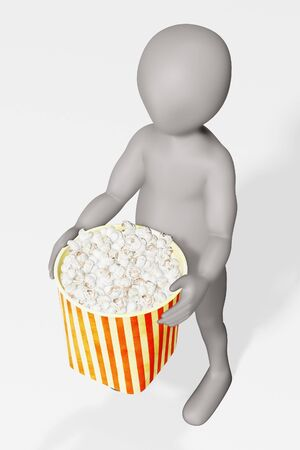 3D Render of cartoon character with Popcorn Foto de archivo - 135138233