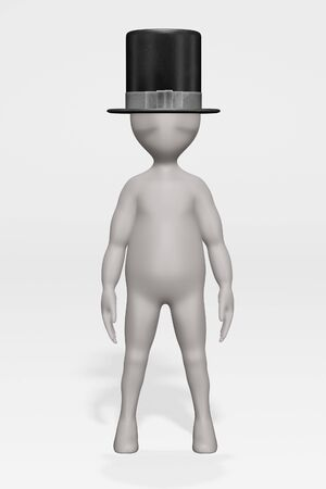 3D Render of Cartoon Character with Hat Banque d'images - 134938571