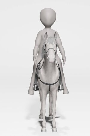3D Render of Cartoon Character with Horse Stock Photo - 134938631
