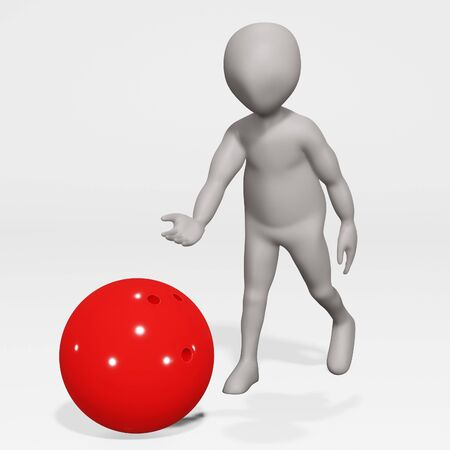 3D Render of Cartoon Character with Bowling Ball Zdjęcie Seryjne
