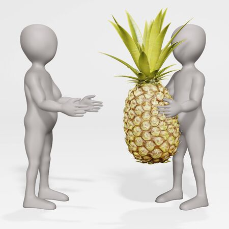 3D Render of Cartoon Character with Pineapple Archivio Fotografico - 134938754