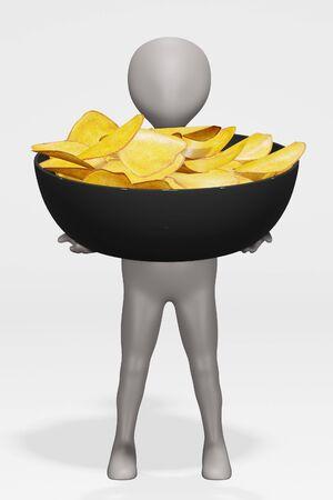 3D Render of Cartoon Character with Potato Chips Foto de archivo - 134938761