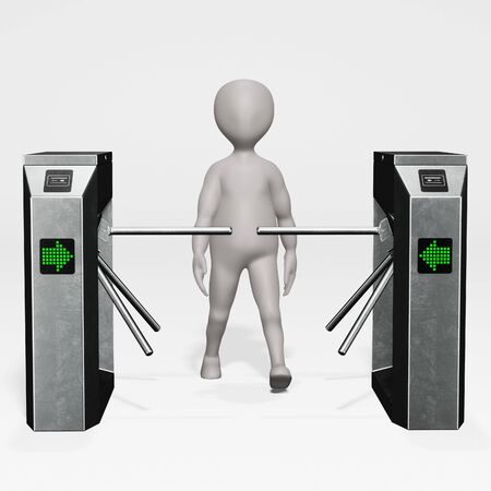 3D Render of cartoon character with Rotary Barrier Gate
