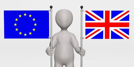 3D Render of Cartoon Character with EU and UK Flags