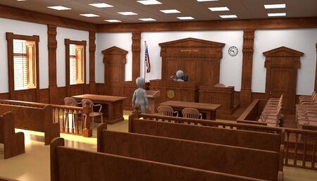 Rendering 3D di personaggi dei cartoni animati in aula di tribunale