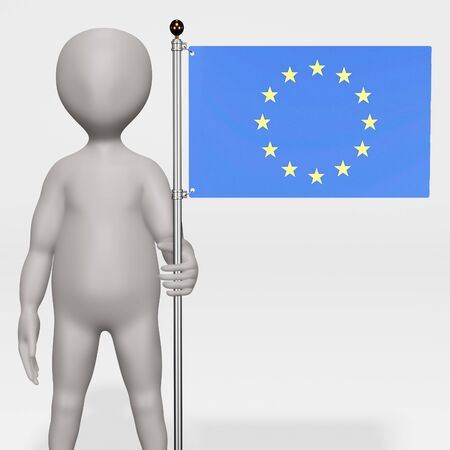 3D Render of Cartoon Character with EU Flag