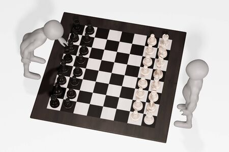 3D Render of Cartoon Character with Chess