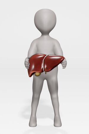 3D Render of Character with Human Liver