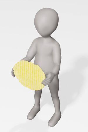 3D Render of Cartoon Character with Potato Chip Foto de archivo - 134938941