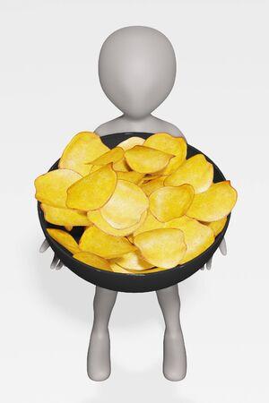 3D Render of Cartoon Character with Potato Chips Foto de archivo - 134938974