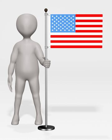3D Render of Cartoon Character with US Flag