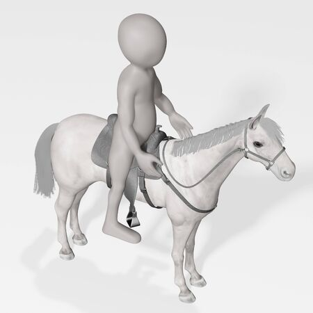 3D Render of Cartoon Character with Horse
