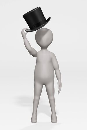 3D Render of Cartoon Character with Hat Banque d'images - 134939101