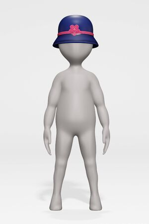 3D Render of Cartoon Character with Hat Banque d'images - 135245722