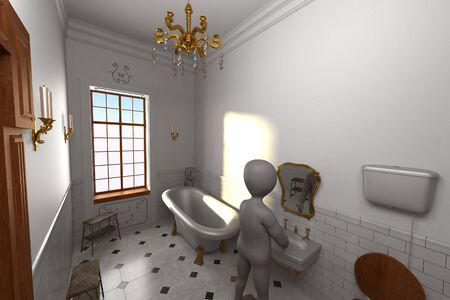 3D Render of Cartoon Character in Bathroom Stock fotó