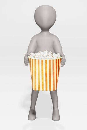 3D Render of cartoon character with Popcorn Foto de archivo - 134951592