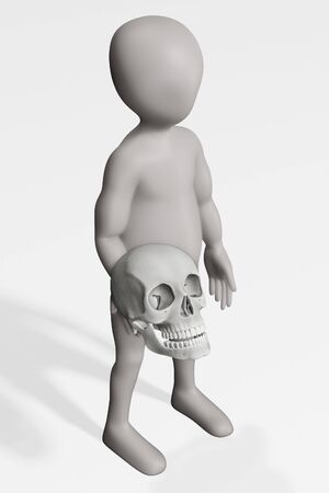 3D Render of Character with Human Skull Archivio Fotografico - 134951841