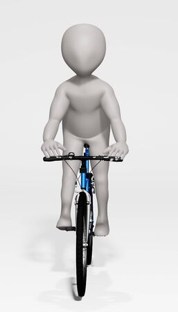 3D Render of Cartoon Character on Bicycle 版權商用圖片