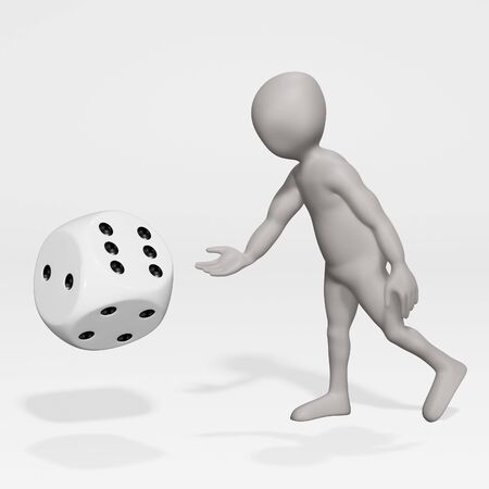 3D Render of Cartoon Character with Dice