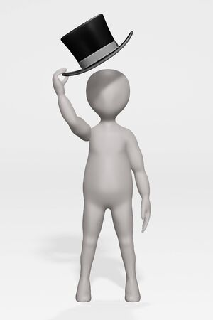 3D Render of Cartoon Character with Hat Banque d'images - 134979935