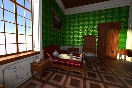 3D Render of Cartoon Character in Baroque Bedroom