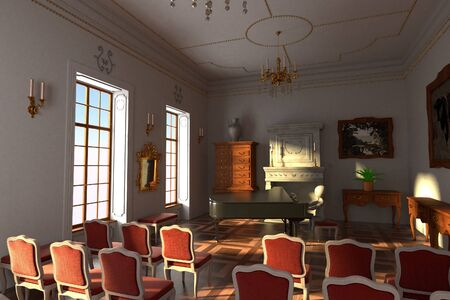 3D Render of Cartoon Character playing piano in Hall