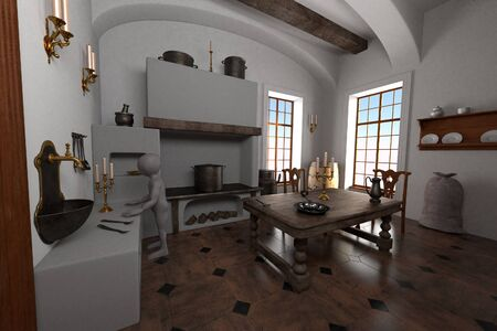 3D Render of Cartoon Character in Baroque Kitchen