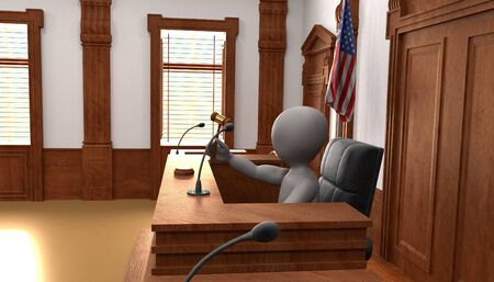 3D Render of Cartoon Characters in Courtroom Stock fotó