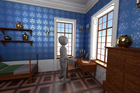 3D Render of Cartoon Character in Baroque Room