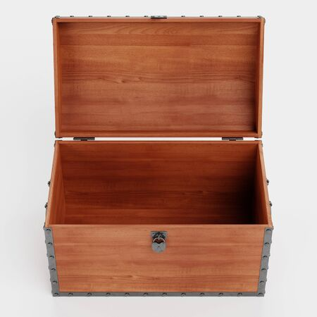 Realistic 3d Render of Wooden Chest Stock Photo